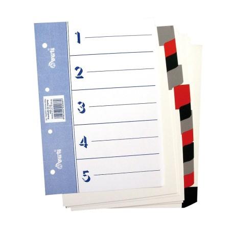 Przekładka ~A5, karton biały, 5 części