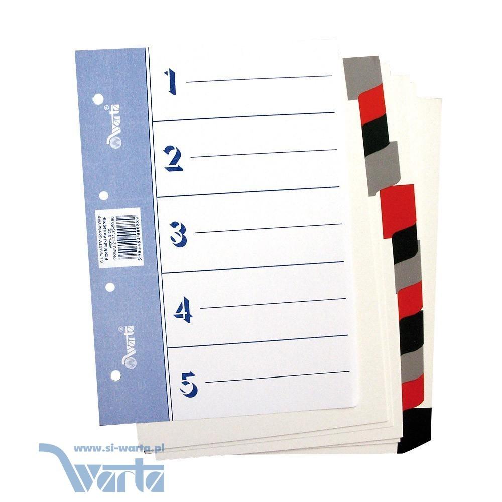 1824-990-023 Przekładka ~A5, karton biały, 5 części