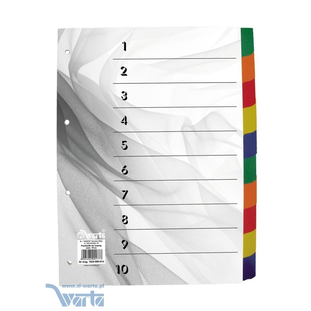 Przekładka ~A4, karton biały, 10 części