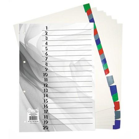 1824-990-032 Przekładka ~A4, karton biały, 20 części