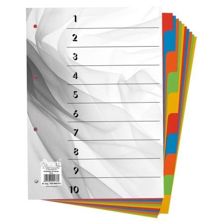 Przekładki do segregatora ~A4 karton barwiony 10 części