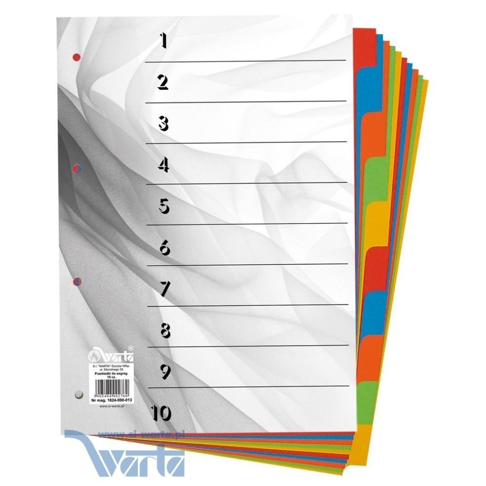 1824-990-013 Przekładka ~A4, karton barwiony, 10 części
