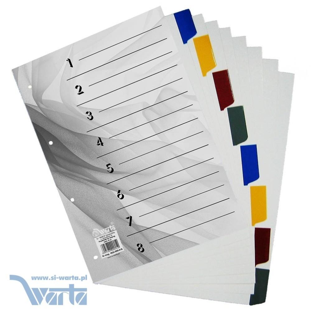 Przekładka ~A4, karton biały, 8 części