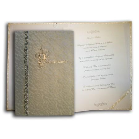 1829-319-100 Podziękowanie, okładka z ozdobną taśmą