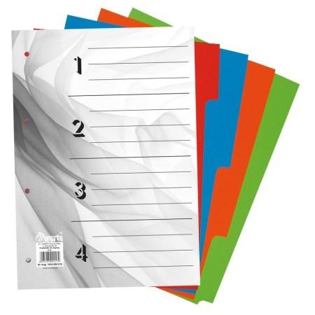 Przekładki do segregatora ~A4 karton barwiony 4 części