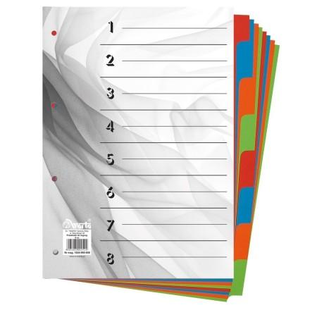 Przekładki do segregatora ~A4 karton barwiony 8 części