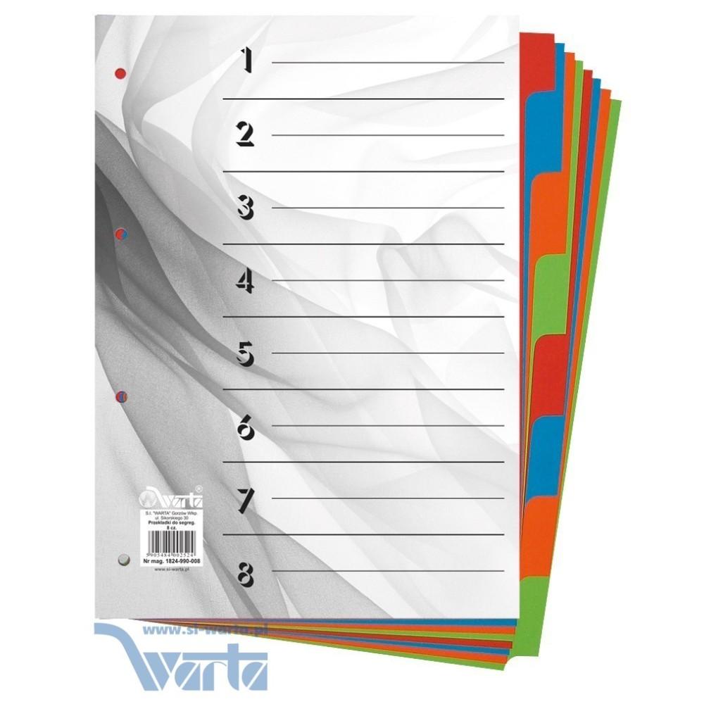 Przekładka ~A4, karton barwiony, 8 części