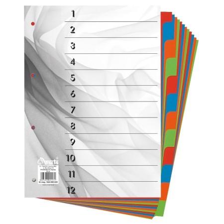 1824-990-009 Przekładka ~A4, karton barwiony, 12 części