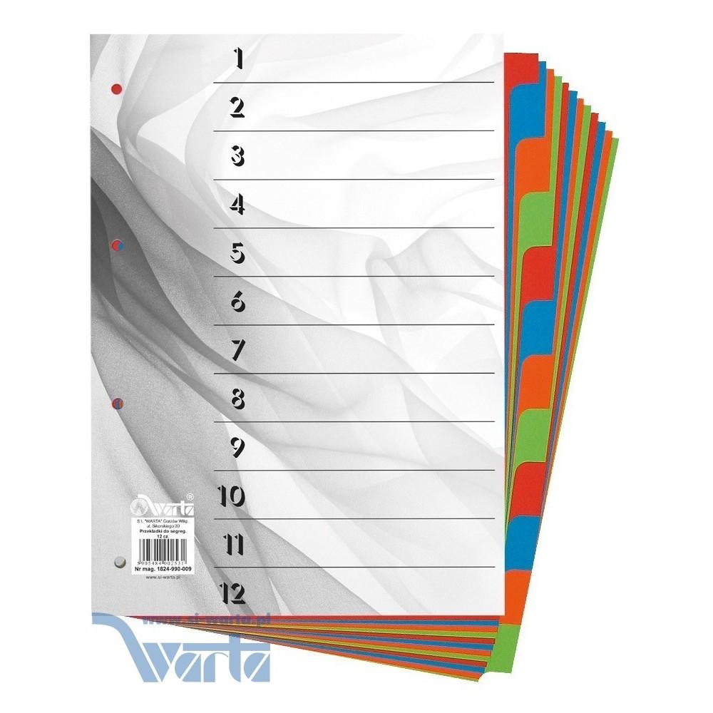 Przekładka ~A4, karton barwiony, 12 części
